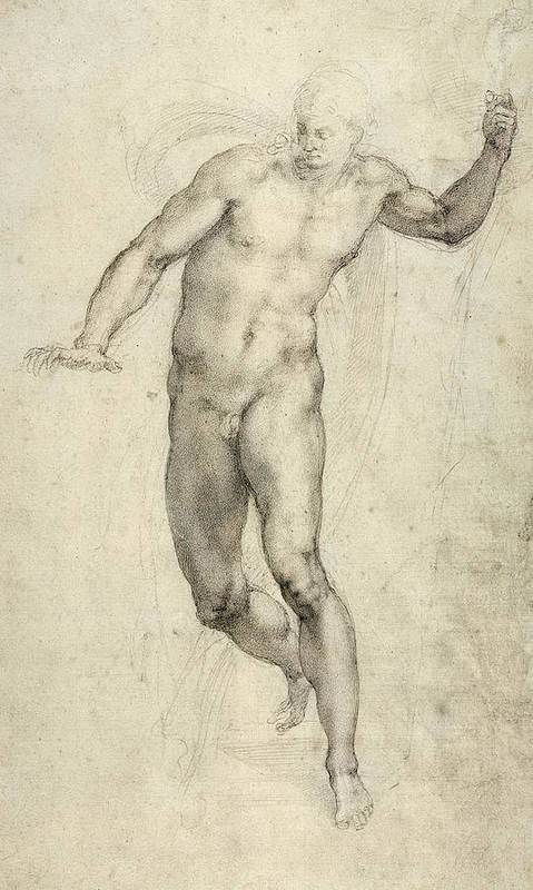 Sketch Art Print featuring the painting Study For The Last Judgement by Michelangelo Buonarroti