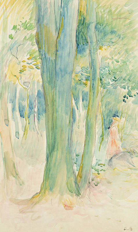 Tree Trunks; Woods; Wooded; Woodland; Forest; Canopy; Female; Kneeling; Gathering; Picking; Foraging; Shade; Shaded; Greenery; Berthe Morisot Art Print featuring the painting Under The Trees In The Wood by Berthe Morisot