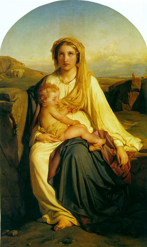 Paul Delaroche Print featuring the digital art Virgin And Child by Paul Delaroche