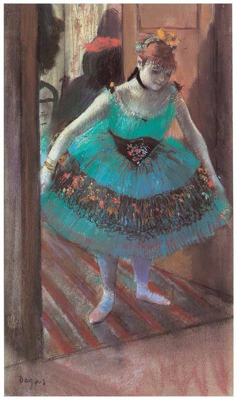 Dancer Leaving Her Dressing Room Print featuring the painting Dancer Leaving Her Dressing Room by Edgar Degas