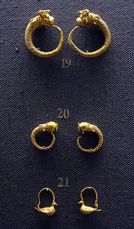 Ancient Earrings Print featuring the photograph Earrings by Andonis Katanos