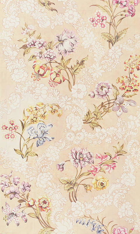 Garthwaite Art Print featuring the tapestry - textile Floral Design With Peonies Lilies And Roses by Anna Maria Garthwaite