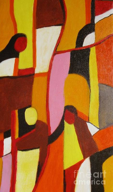 Semi Abstract Art Print featuring the painting Four Women by Nedunseralathan R