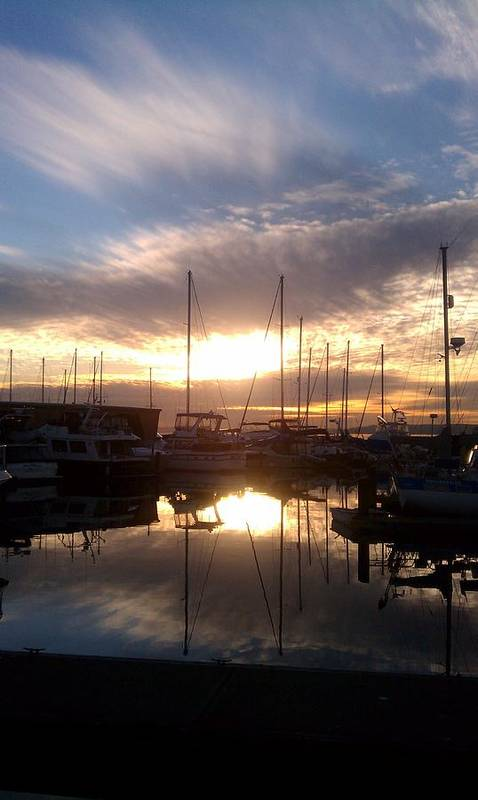Sunset Art Print featuring the photograph Sunset And Boats by Jerry Cahill