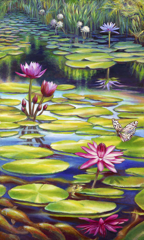 Water Lily Print featuring the painting Water Lilies At Mckee Gardens II - Butterfly And Frog by Nancy Tilles