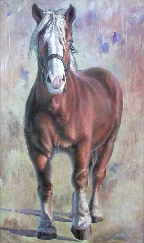 Horse Art Print featuring the painting Arthur The Belgian Horse by Hans Droog