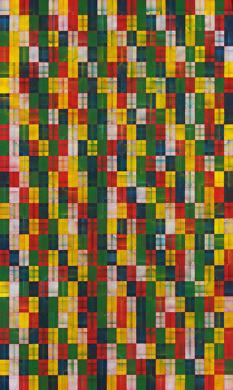 Abstract Pattern White Yellow Green Red Art Print featuring the painting Fac5vertical by Joan De Bot