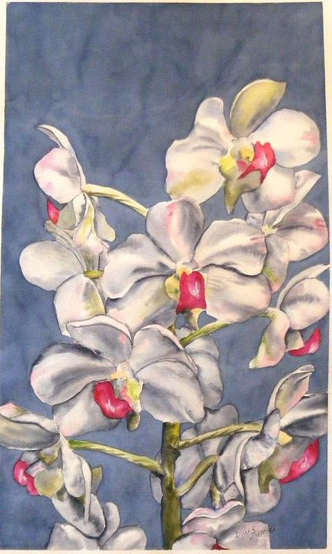 Floral Art Print featuring the painting Orchids by Diane Ziemski