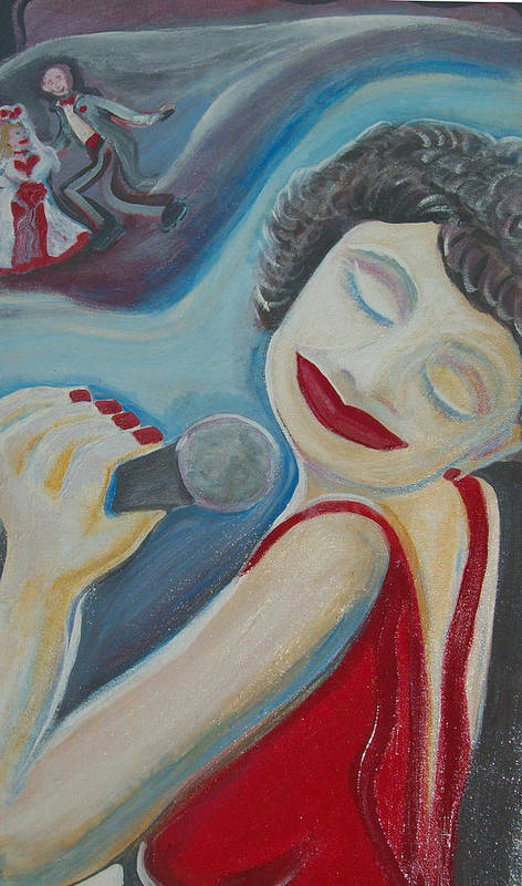 Singers Art Print featuring the painting A Jazz Singer by Jennifer K Machado