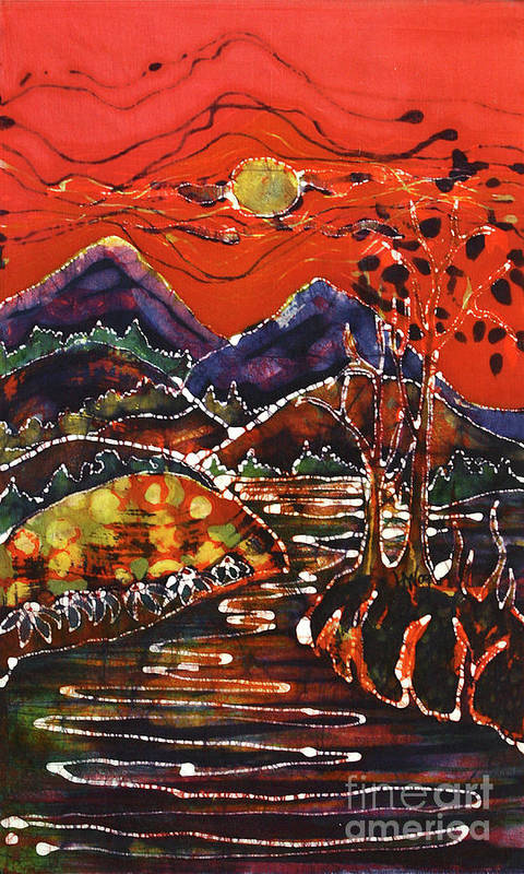 Adirondack Art Print featuring the tapestry - textile Autumn Adirondack Sunset by Carol Law Conklin