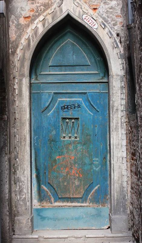 Venice Art Print featuring the photograph Blue Gothic Door In Venice by Michael Henderson