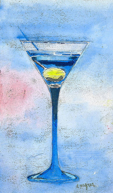 Martini Art Print featuring the painting Blue Martini by Arline Wagner