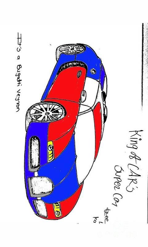 Pj Pag Car Art Print featuring the drawing Bugatti Veyron by Kamlesh Kailas Joshi