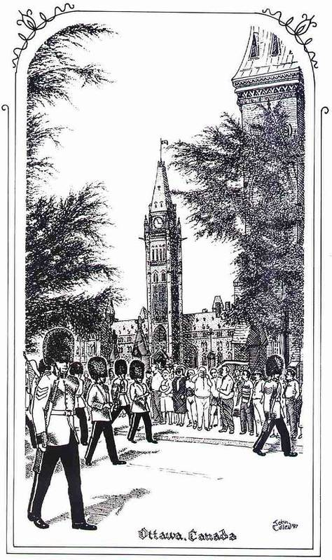 Cityscape Art Print featuring the mixed media Changing Of The Guard Ottawa 1995 by John Cullen