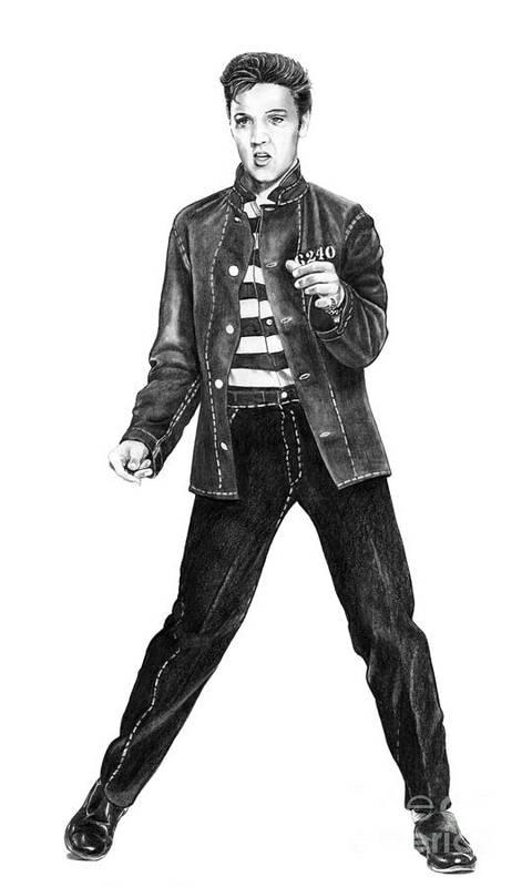 Elvis Art Print featuring the drawing Elvis Presley  by Murphy Elliott