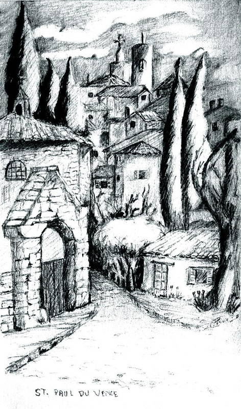 French Village Art Print featuring the drawing French Village by Dan Earle