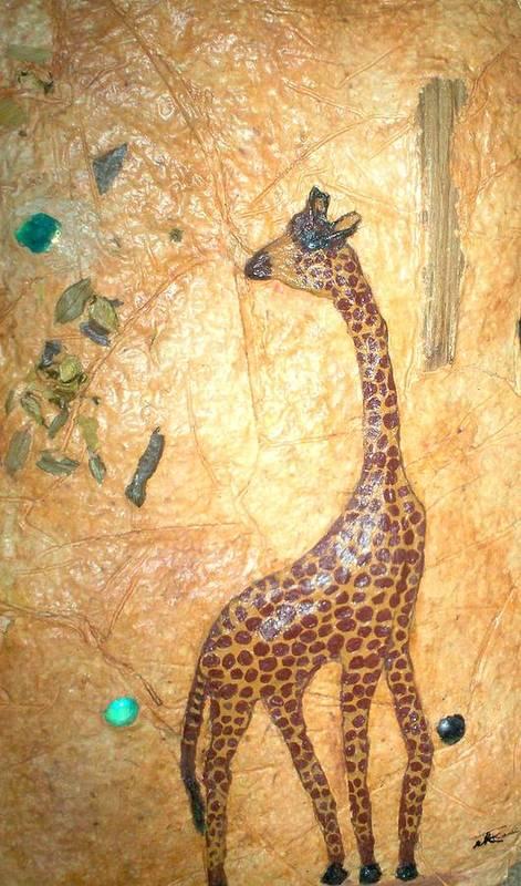 Giraffe Art Print featuring the mixed media Giraffe  Sold by Tinsu Kasai