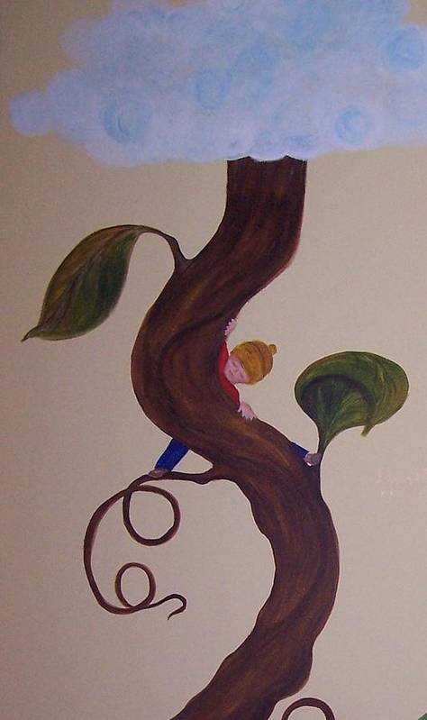Jack Art Print featuring the painting Jack In The Beanstalk by Nancy Self