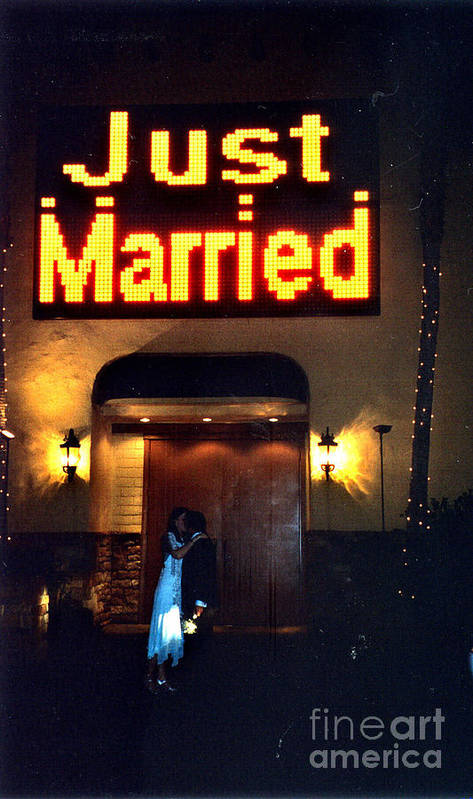 Las Vegas Art Print featuring the photograph Just Married by Andrea Simon