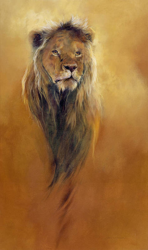 Animal; Furry; Lion; Wild Animal; Predator: King: Leo Art Print featuring the painting King Leo by Odile Kidd
