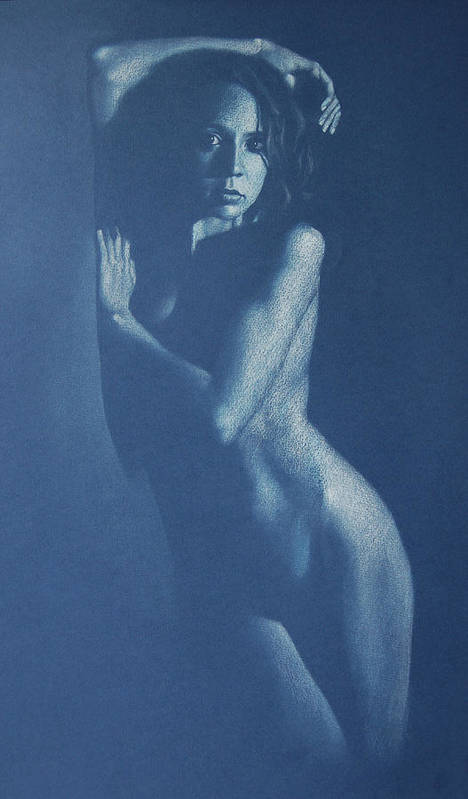Nude Art Print featuring the drawing Lauren In Blue by Alan Stevens