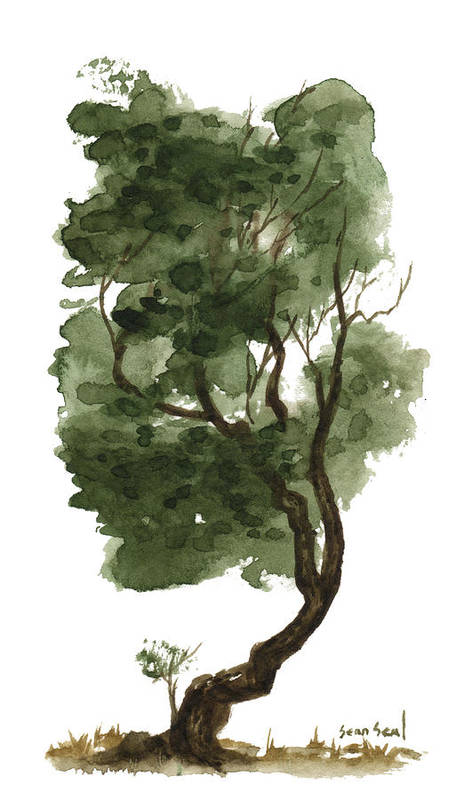 Zen Tree Art Print featuring the painting Little Tree 127 by Sean Seal