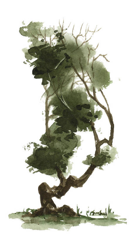 Zen Tree Art Print featuring the painting Little Tree 129 by Sean Seal