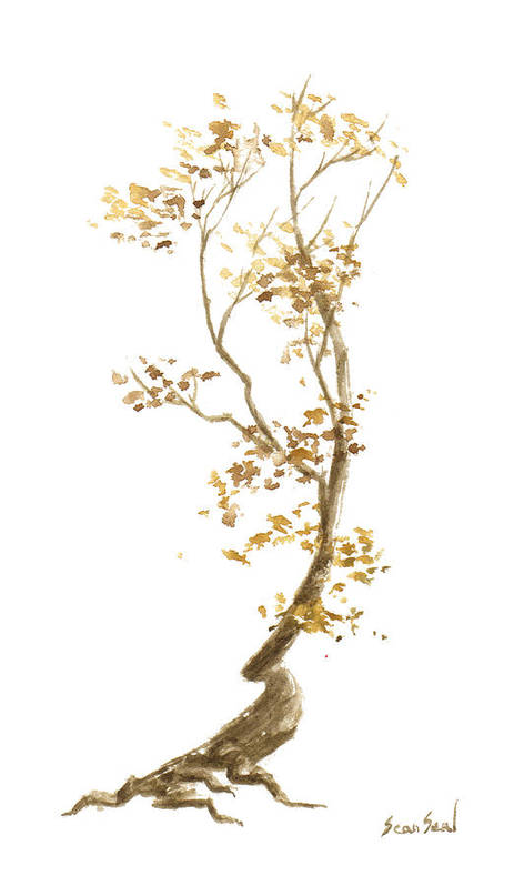 Bonsai Tree Art Print featuring the painting Little Tree 57 by Sean Seal