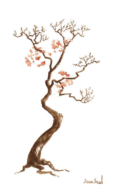 Bonsai Tree Art Print featuring the painting Little Tree 59 by Sean Seal