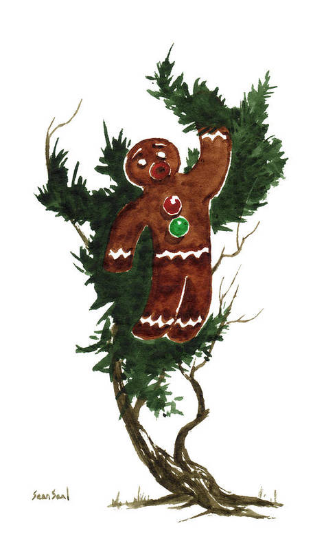 Gingerbread Man Art Print featuring the painting Little Tree 97 by Sean Seal