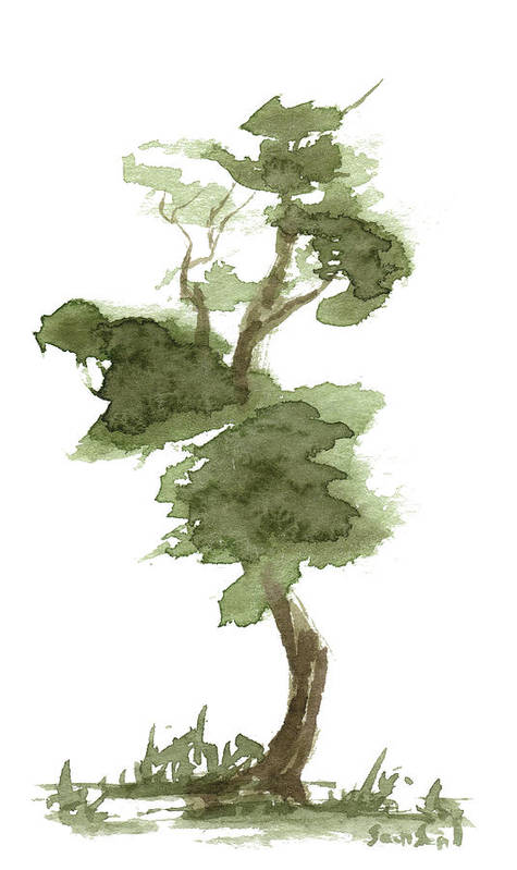 Zen Art Print featuring the painting Little Zen Tree 175 by Sean Seal