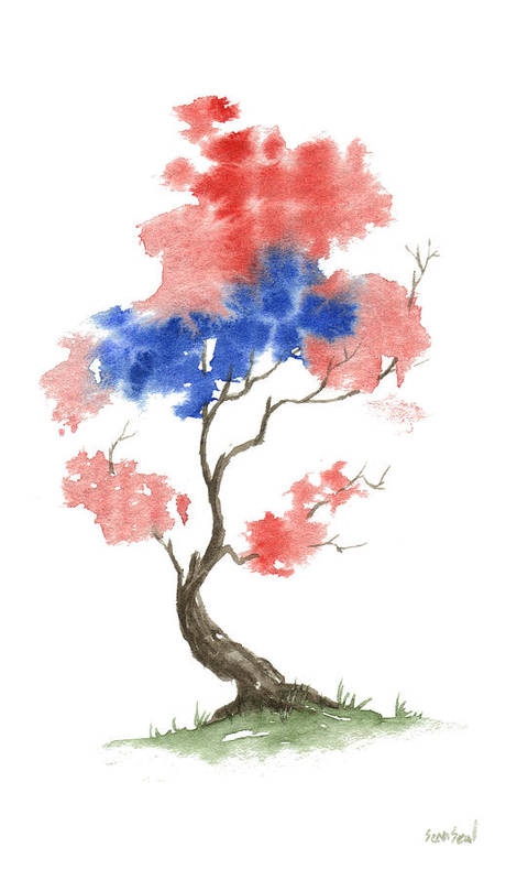 American Art Print featuring the painting Little Zen Tree 291 by Sean Seal