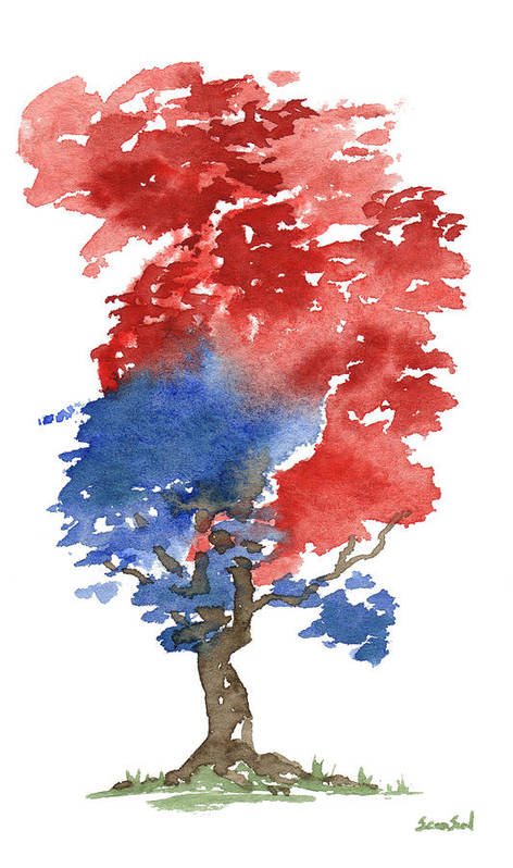 American Art Print featuring the painting Little Zen Tree 292 by Sean Seal