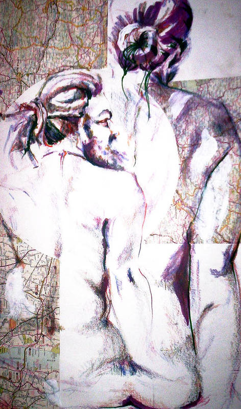 Male Art Print featuring the drawing Male Female Nude  by Dannielle Murphy