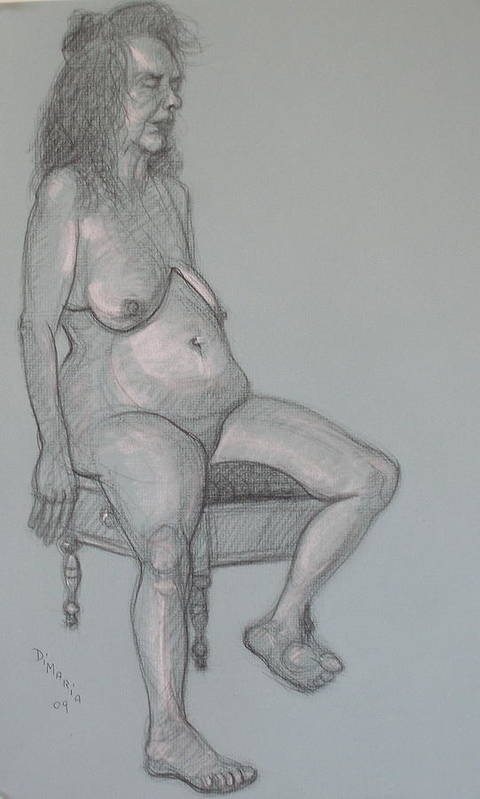 Realism Art Print featuring the drawing Miriam 3 by Donelli DiMaria