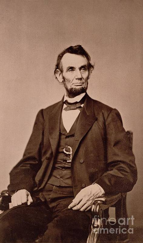 Portrait Of Abraham Lincoln (1809-65) (b/w Photo) By Mathew Brady (1823-96) Print featuring the photograph Portrait Of Abraham Lincoln by Mathew Brady