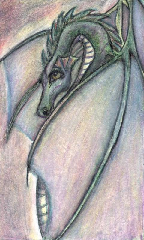 Dragon Art Print featuring the drawing Protective Mother by Jennifer Skalecke