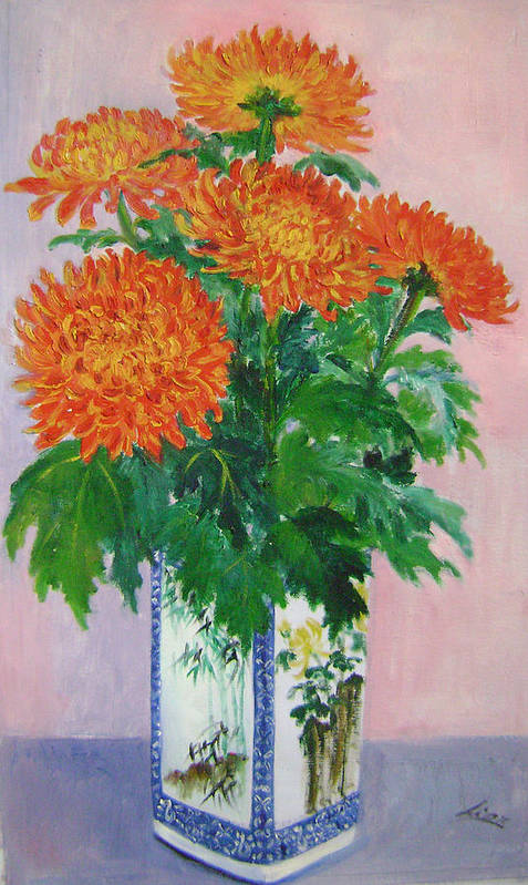 Floral Art Print featuring the painting Red Chrysanthemums by Lian Zhen