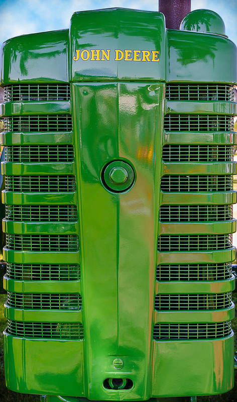 Farm Art Print featuring the photograph Shiny Old John Deere Tractor In Classic Green by John Brink