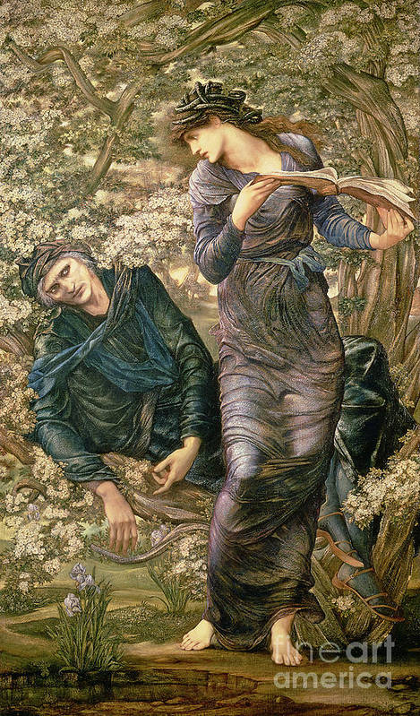 The Beguiling Of Merlin Art Print featuring the painting The Beguiling Of Merlin by Sir Edward Burne-Jones
