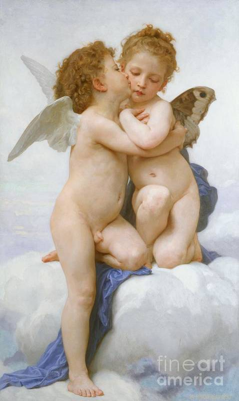 Cherubs; Cherub; Putti; Boy; Girl; Kissing; Embracing; Wings; Nude; Affection; Innocence; Cloud; Kiss Art Print featuring the painting The First Kiss by William Adolphe Bouguereau