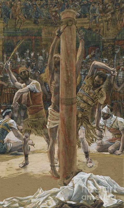 Life Of Christ; Beating; Passion; Mocking Of Christ; Bound; Flogging; Humiliation; Agony; Crowd; Jeering; Taunting; Mob Art Print featuring the painting The Scourging On The Back by Tissot