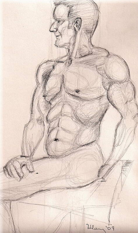 Nude Male Figure Drawing Study Art Print featuring the drawing V At The Studio by Hilary England