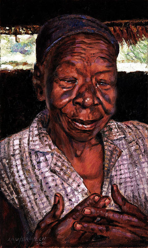 Black Woman Art Print featuring the painting Woman Of Faith by John Lautermilch