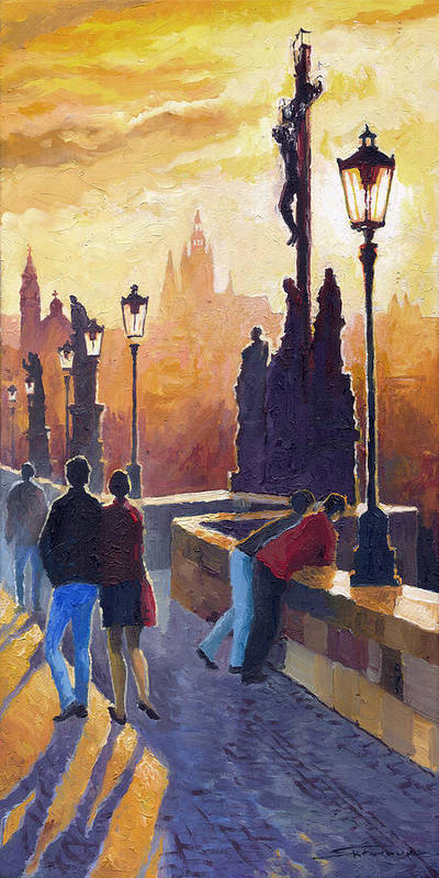 Oil On Canvas Art Print featuring the painting Golden Prague Charles Bridge by Yuriy Shevchuk