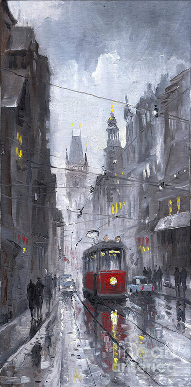 Oil On Canvas Art Print featuring the painting Prague Old Tram 03 by Yuriy Shevchuk