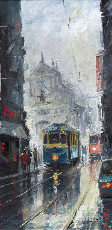 Oil On Canvas Art Print featuring the painting Prague Old Tram 04 by Yuriy Shevchuk