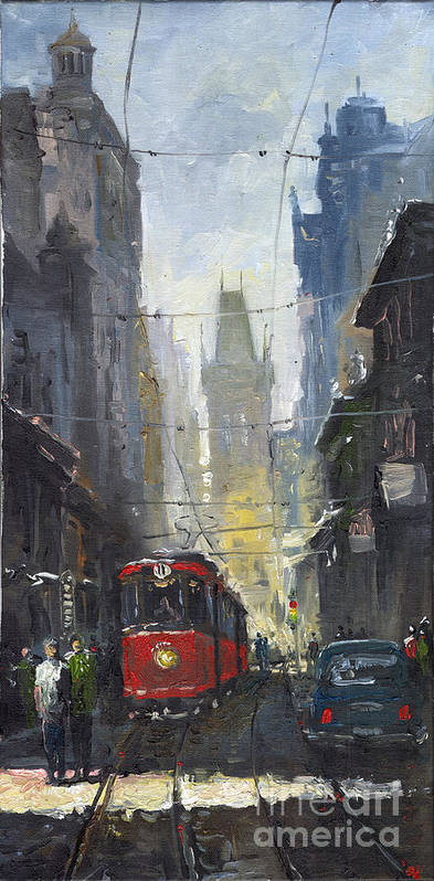 Oil On Canvas Paintings Art Print featuring the painting Prague Old Tram 05 by Yuriy Shevchuk