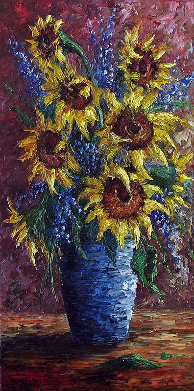 Flowers Art Print featuring the painting Sunflower Bouquet by David G Paul