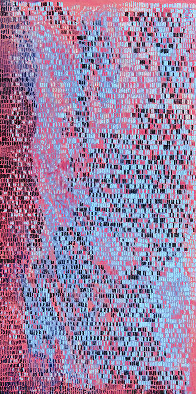 Abstract Cityscape Pattern Blue Pink Art Print featuring the painting Williamsburg by Joan De Bot